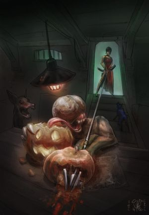 Ada Wong and the Licker Halloween Pumkin maker by lepetitgroin