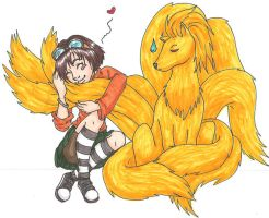 PT Kit and Ninetails - colored by Doodlebotbop