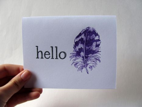 Hello Feather Notecard by dreamycards