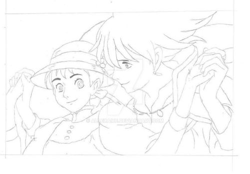 WIP Howl and Sophie by Allexaire