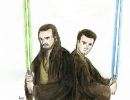 Qui Gon and Obi Wan by MsVillainess