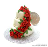 Red Rose Wedding Cake by SmallCreationsByMel