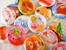 Kawaii Pinback Button Badges by xiwanglove