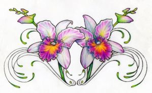 Orchid Chest Tattoo Design by ShantiCameron