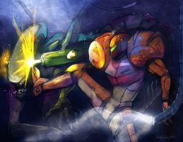 Samus VS Alien by Zimeta
