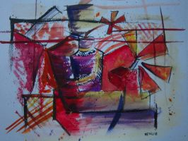 Still Life (Cubism) Watercolor by lolbenjo