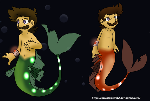 Merman Luigi and Mario 2 by MariobrosYaoiFan12