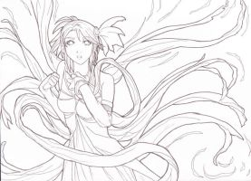 The Wind Seraphim Lineart by Skatora