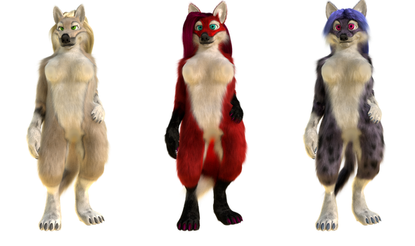 Blender model - Anthro wolf, fox, cat (censored) by MirceaKitsune