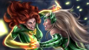 Jean VS Enchantress by Maruceru