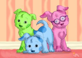 Blue, Magenta, and Green Puppy by DogWolf129