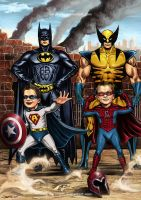 Superheroes and the Kids by aaronwty