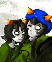 Homestuck - Nepeta and Meulin by MelSpontaneus