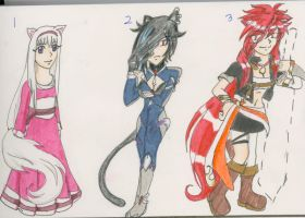 Neko adoptable set(3/3 SOLD) by Light-in-Dark56