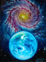A galaxy and Earth by CORinAZONe