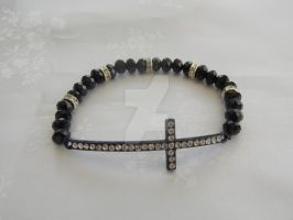 Black and silver diamante stretch bracelet 299a by Quested-Creations