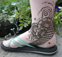 Henna Flower Heel Design by flowerwills