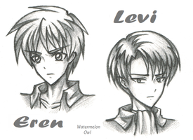 Eren and Levi Sketch by WatermelonOwl