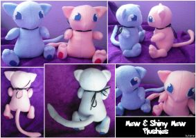 Mew and Shiny Mew Plushies by SmileAndLead
