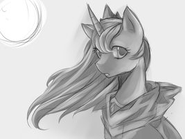 WIP Princess Luna in a cloak by Meewin