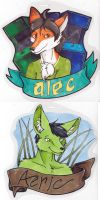 Alec and Aeric Badges by dragonmelde