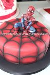 Spiderman cake with spiderman topper by zoesfancycakes