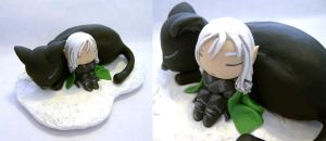 Jedi Drizzt and Guenhwyar figure by vrlovecats