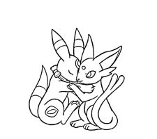 Umbreon + Espeon Snuggling by sunnyfish