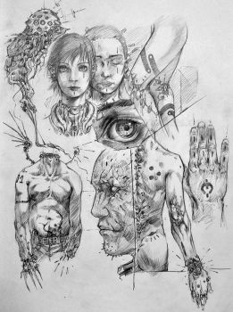 Some old scribbles on paper by randis