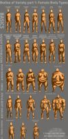 Bodies of Variety pt 1: Female body types by Spelledeg