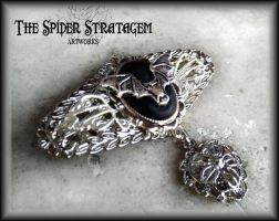 Gothic brooch 'Filigree and bats' by TheSpiderStratagem