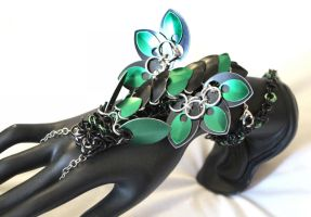 Green and Black Chainmaille Dragon Handlower by SerenFey