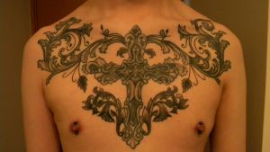 Chest Cross Tattoo Piece by baihei