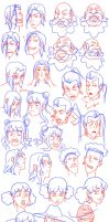 Characters expressions and head shapes by Flipfloppery