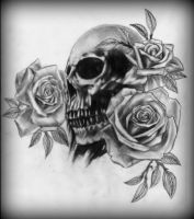 Skull and roses by CalebSlabzzzGraham