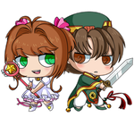 Sakura and Shaoran - Chibis by Rumay-Chian