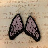 Glass Butterfly Wing Earrings Pink by FusedElegance
