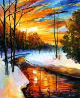 Winter Sunset by Leonid Afremov by Leonidafremov
