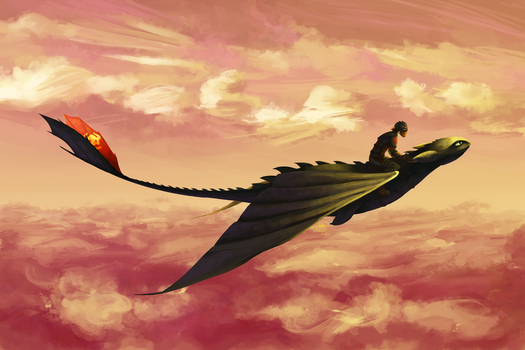 Flying - Hiccup and Toothless by blindbandit5