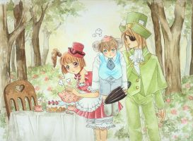 Mad tea Party with Pink teaset by Rando-chan