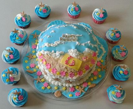Birthday Ocean Beach-themed Birthday Cake/Cupcakes by InkArtWriter