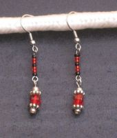 Black and Red Drop Earrings by LadyTal