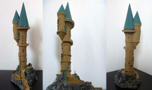 Hogwarts Castle paper model WIP 3 by ana-wandmaker