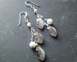 Falling Leaves -Grey with Mother of Pearl Earrings by QuintessentialArts
