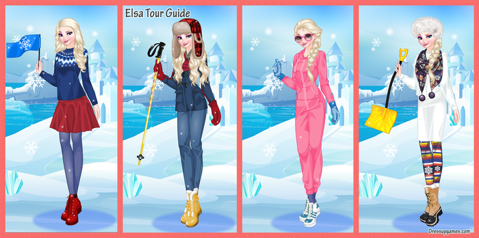 Dress Elsa as a tour guide in Snowland by DressUpGamescom
