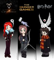 Marcapaginas de TMI, THG y HP by Felwyn