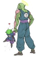 Holding hands - Piccolo Daimao and junior by TheBombDiggity666