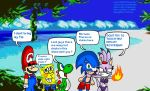 Mario Sonic Sponge Blaze Yoshi at the Beach 1 by DarkraDx