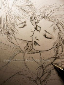 Jelsa - Frozen kiss - Sketch by Lehanan