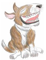 The Laughing Bull Terrier by CrystalMarineGallery